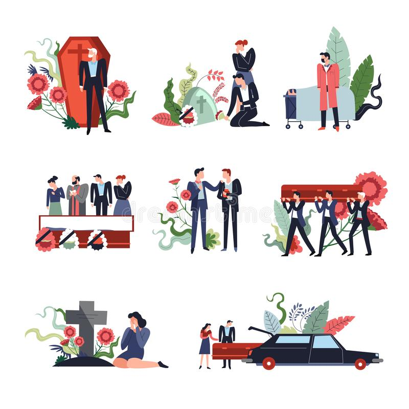 Funeral ceremony people sad grieving for deceased person in coffin. Vector men carrying dead body woman crying by tombstone in form of cross burial car with vector illustration