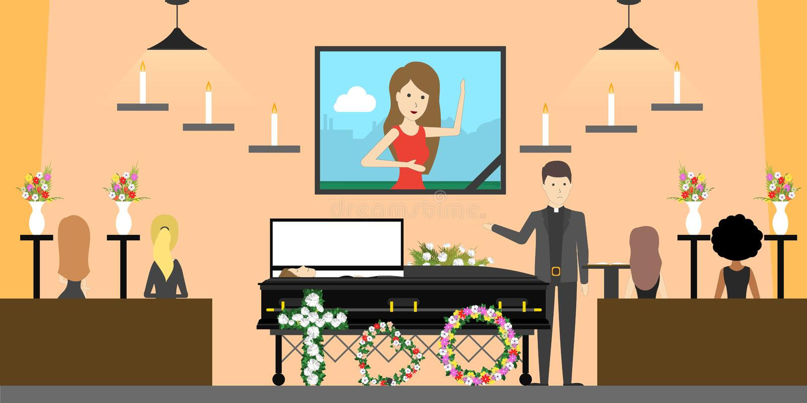 Funeral at church. People say good bye to dead person royalty free illustration