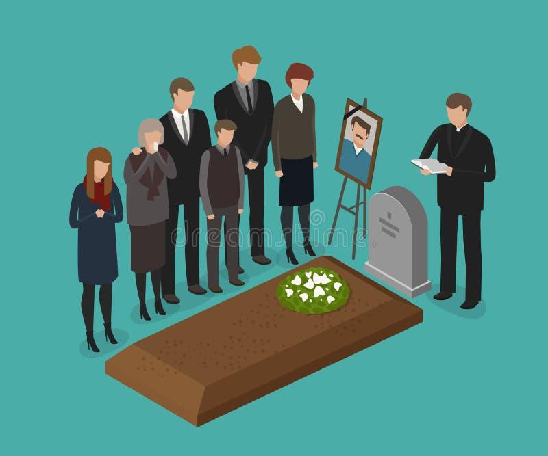 Funeral, conceito do enterro Cemitério, ilustração grave do vetor ilustração royalty free