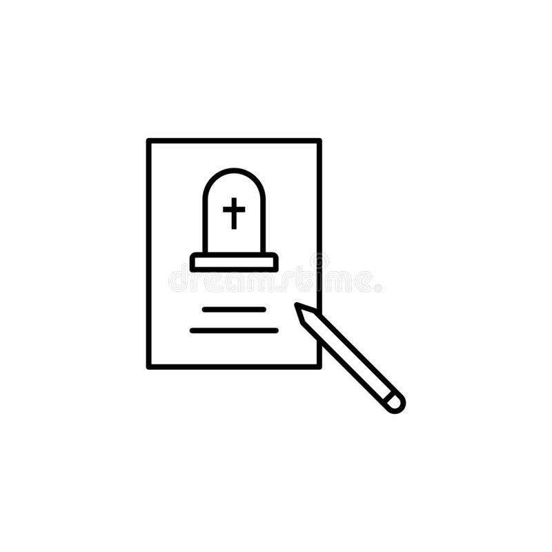 funeral, death, pen, paper outline icon. detailed set of death illustrations icons. can be used for web, logo, mobile app, UI, UX royalty free illustration