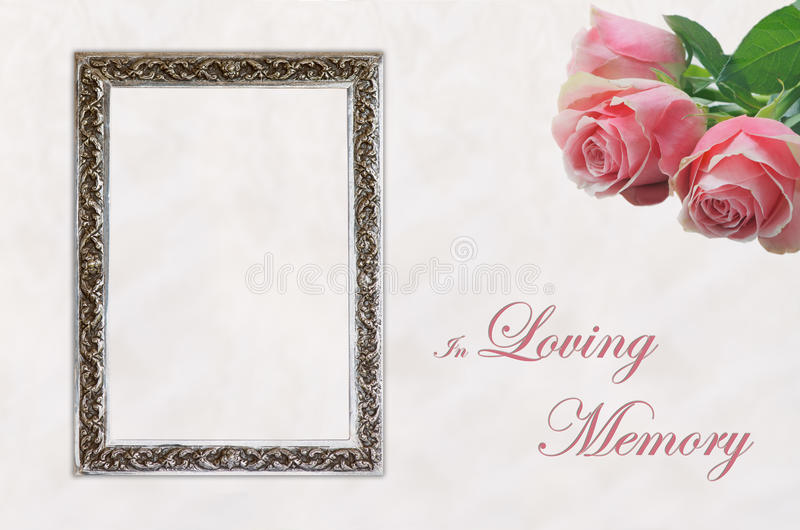 Funeral eulogy card. Elegant front page of non religious funeral programme template or card depicting pink roses and silver frame with text In Loving Memory royalty free stock photography