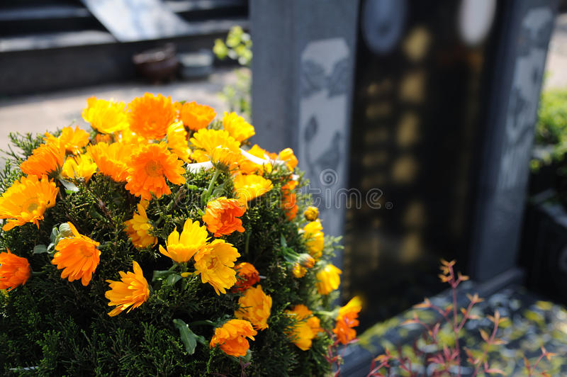 Funeral flowers for condolences. Chinese Funeral flowers for condolences,yellow chrysanthemum royalty free stock image