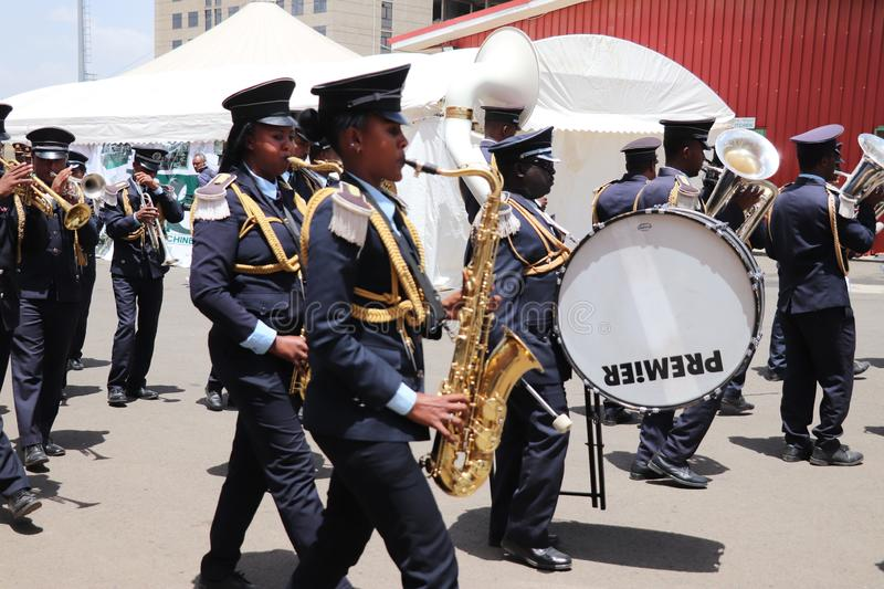 Marching band at the funeral service of Former Ethiopian President Dr. Negasso Gidada. Funeral of Former Ethiopian President Dr. Negasso Gidada that was attended stock images