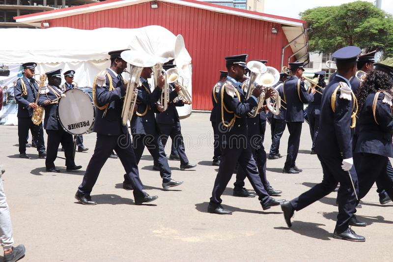 Marching band at the funeral service of Former Ethiopian President Dr. Negasso Gidada. Funeral of Former Ethiopian President Dr. Negasso Gidada that was attended stock image