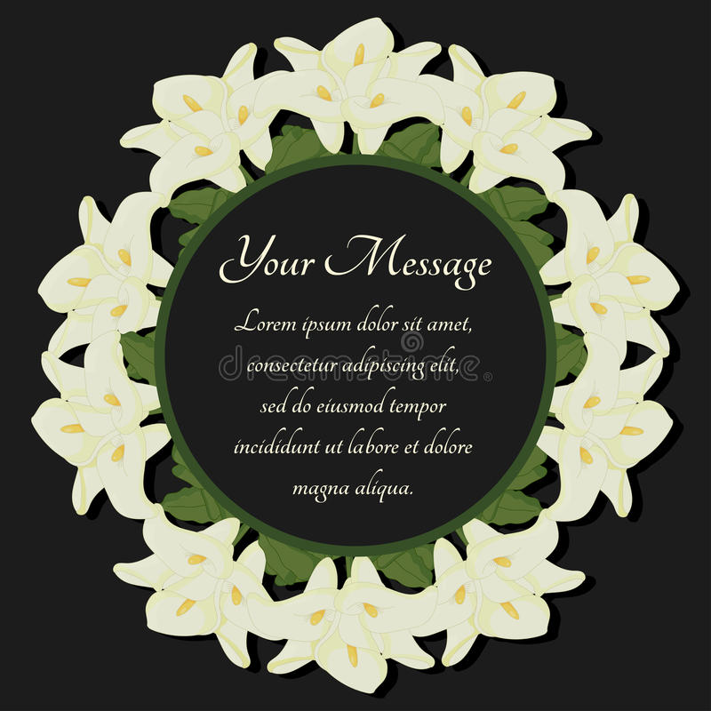 Funeral Frame. Mourning Illustration With Flowers Calla Lilies ...