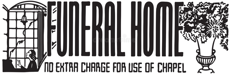 Funeral Home. Retro Ad Art Banner vector illustration