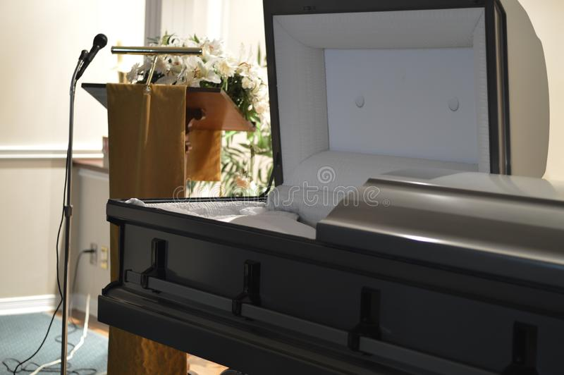 Funeral Home Open Casket. Open Casket in an abandoned funeral home stock photo