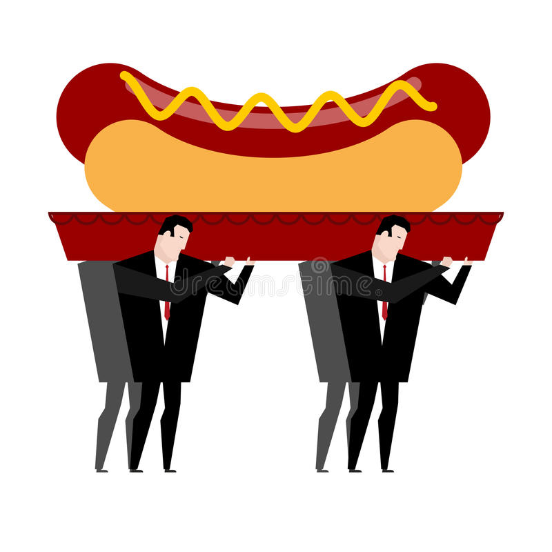 Funeral hot dog. Fast food is carried in coffin. burial of junk. Food. Illustration for healthy diet stock illustration