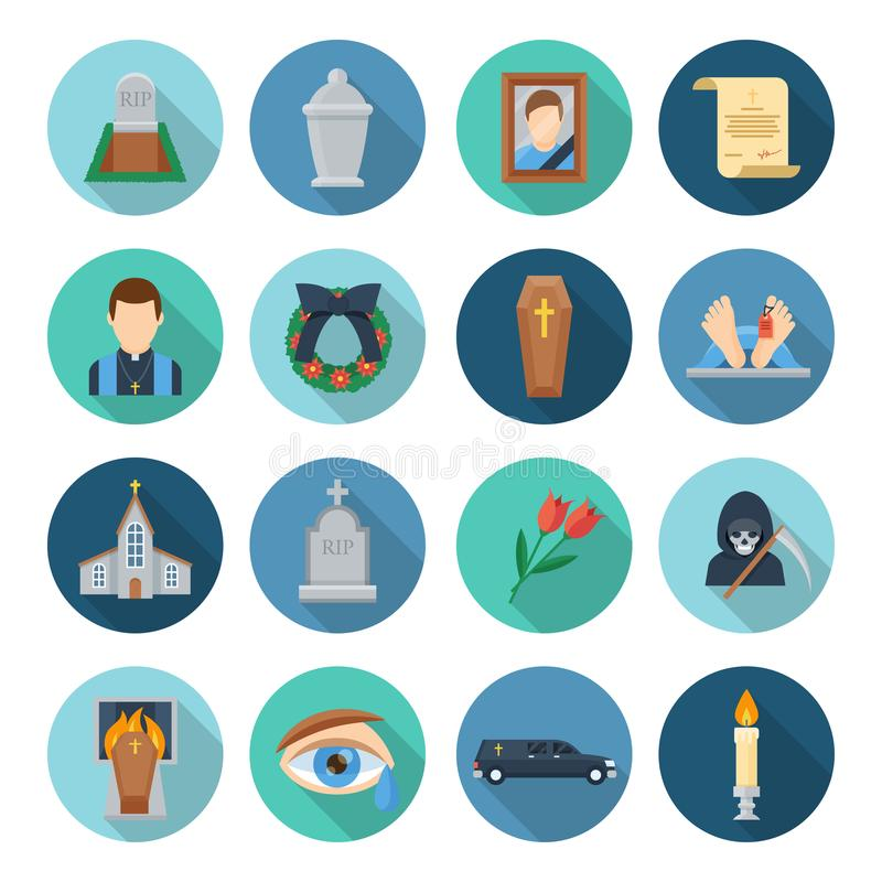 Funeral icon set. Burial, cremation rituals undertaken, saying goodbye to someone who died, service provider and church ceremony. Vector flat style cartoon royalty free illustration
