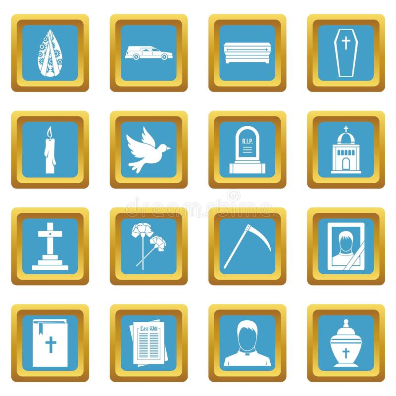 Funeral icons azure. Funeral icons set in azur color isolated vector illustration for web and any design vector illustration