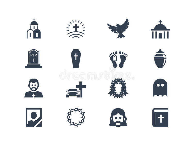 Funeral icons. Funeral and cimetery icons set stock illustration