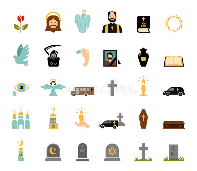 Funeral icons. Death and mourning for deceased ritual church funeral ceremony tombstone candles flat icons set vector isolated illustration stock illustration