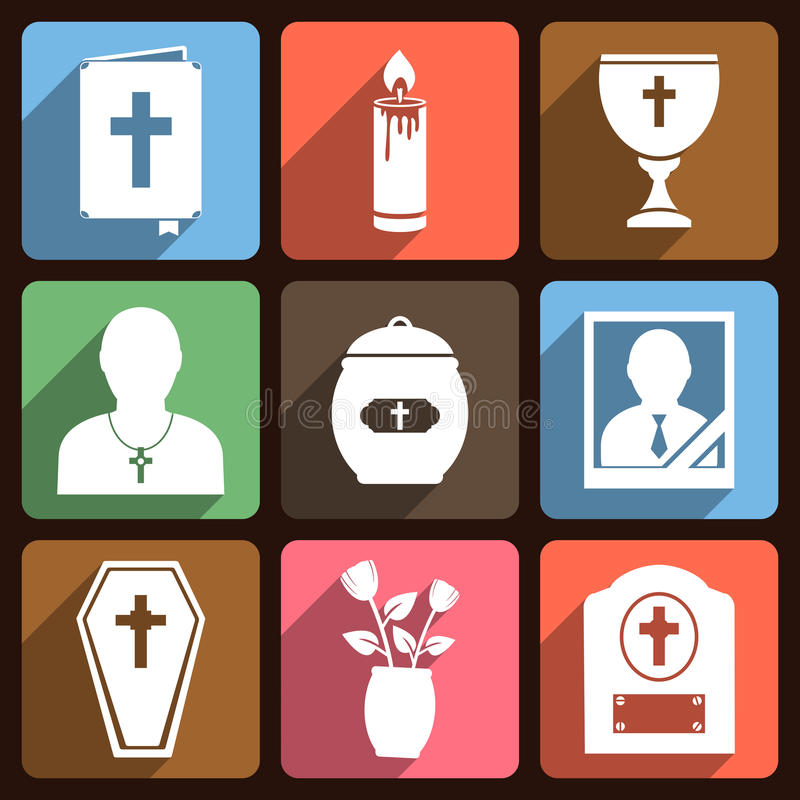 Funeral icons with long shadow vector illustration
