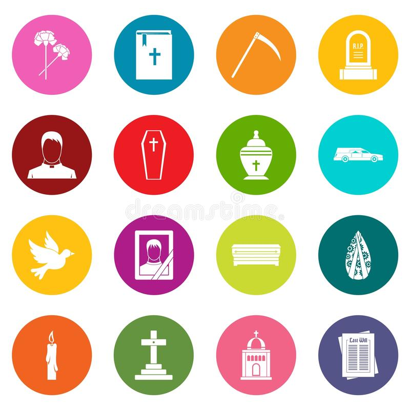 Funeral icons many colors set. Isolated on white for digital marketing stock illustration