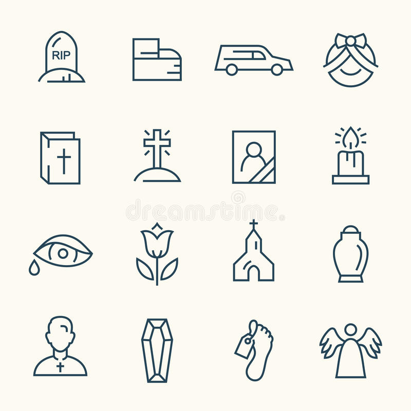 Funeral icons. Funeral service line icon set vector illustration