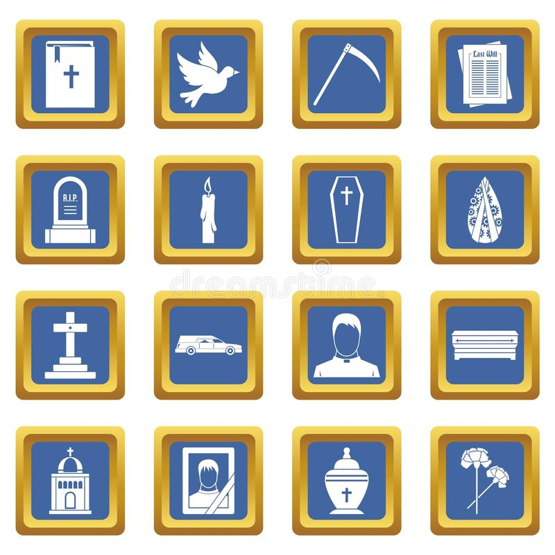 Funeral icons set blue. Funeral icons set in blue color isolated vector illustration for web and any design royalty free illustration