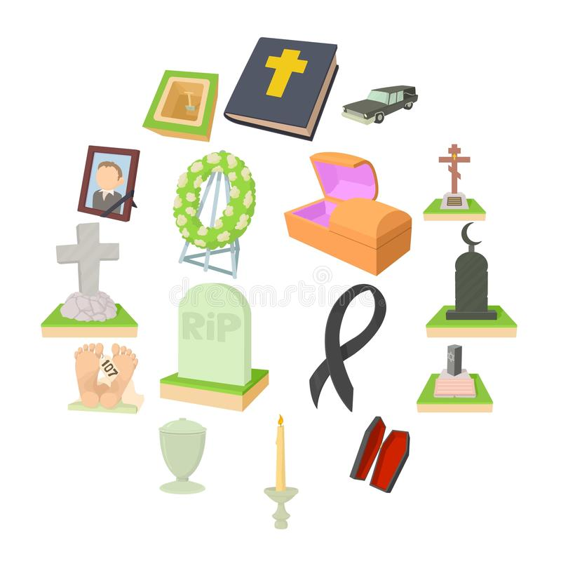 Funeral icons set, cartoon style. Funeral icons set. Cartoon illustration of 16 funeral vector icons for web vector illustration
