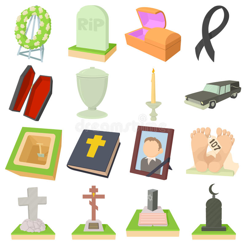 Funeral icons set, cartoon style. Funeral icons set. Cartoon illustration of 16 funeral vector icons for web royalty free illustration