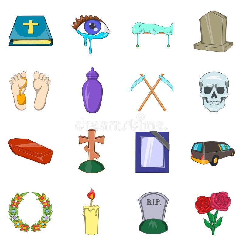 Funeral Icons set, cartoon style stock illustration