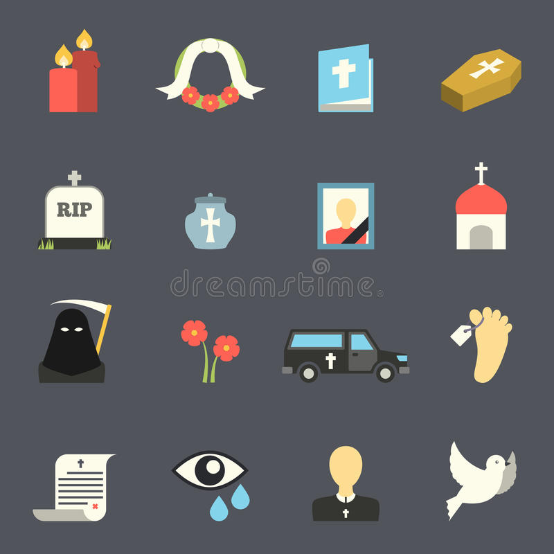 Funeral Icons Set. Death and mourning for deceased ritual church funeral ceremony tombstone candles flat icons set vector isolated illustration royalty free illustration