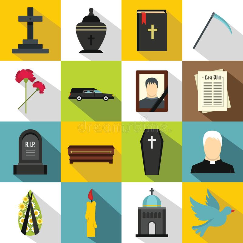 Funeral icons set, flat style. Funeral icons set. Flat illustration of 16 funeral icons for web stock illustration