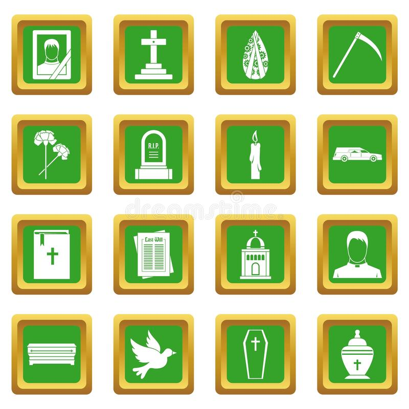 Funeral icons set green. Funeral icons set in green color isolated vector illustration for web and any design royalty free illustration