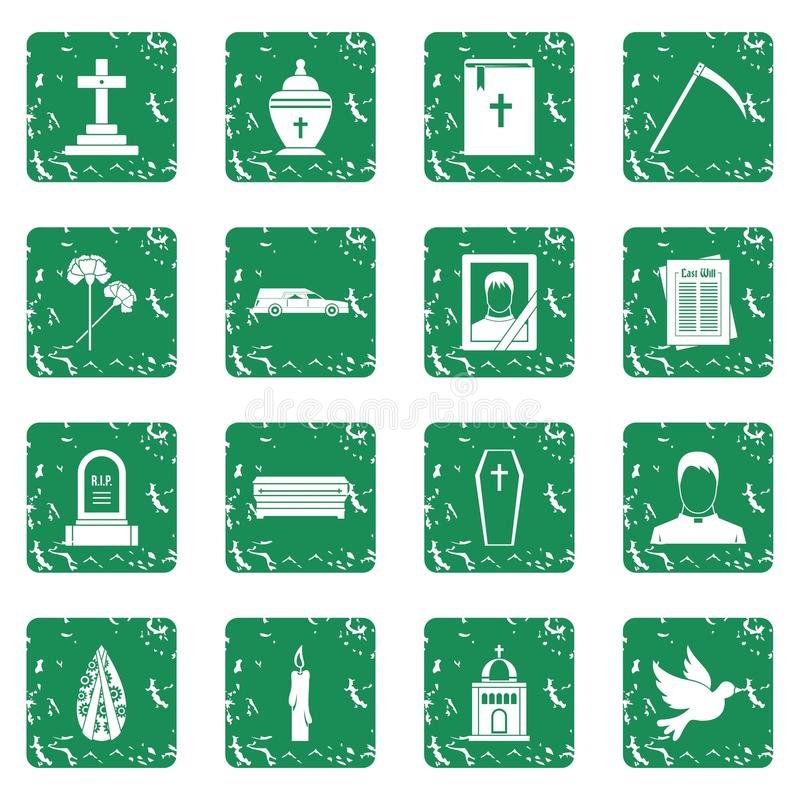 Funeral icons set grunge. Funeral icons set in grunge style green isolated vector illustration vector illustration