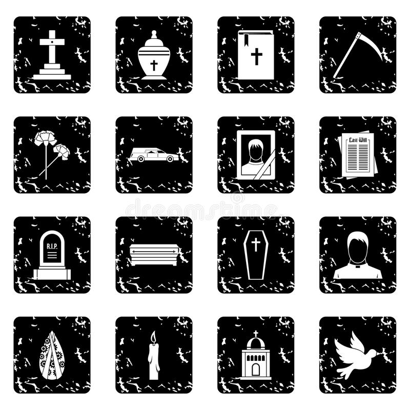 Funeral icons set. In grunge style isolated on white background vector illustration stock illustration
