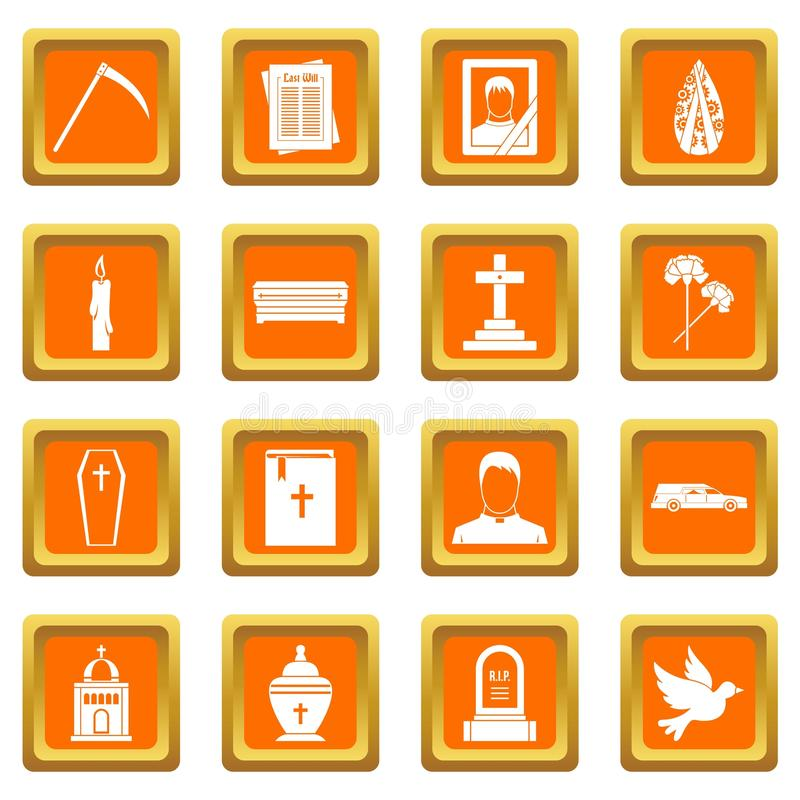 Funeral icons set orange. Funeral icons set in orange color isolated vector illustration for web and any design stock illustration