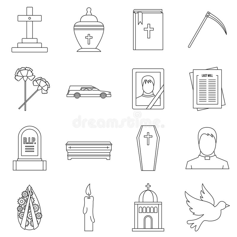 Funeral icons set, outline style. Funeral icons set. Outline illustration of 16 funeral icons for web stock illustration