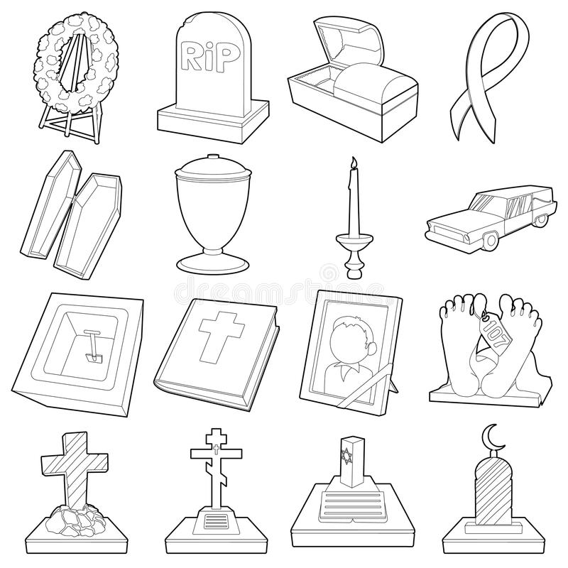 Funeral icons set, outline style. Funeral icons set. Outline illustration of 16 funeral vector icons for web royalty free illustration