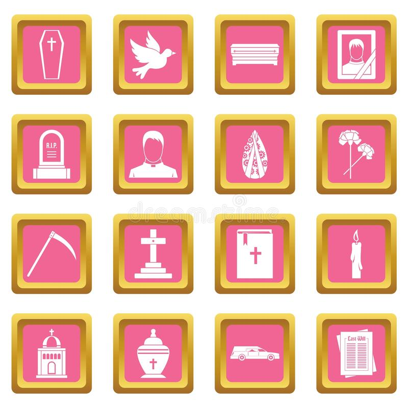 Funeral icons pink. Funeral icons set in pink color isolated vector illustration for web and any design stock illustration