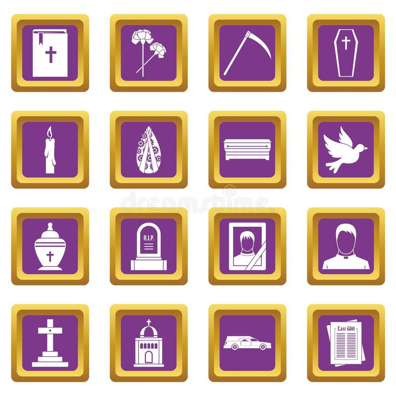 Funeral icons set purple. Funeral icons set in purple color isolated vector illustration for web and any design stock illustration