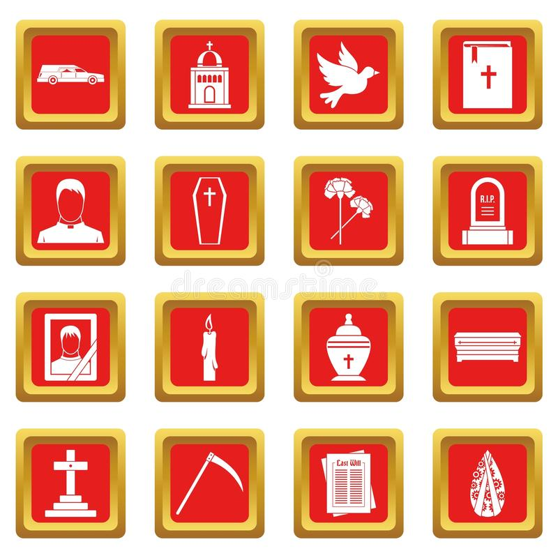 Funeral icons set red. Funeral icons set in red color isolated vector illustration for web and any design vector illustration
