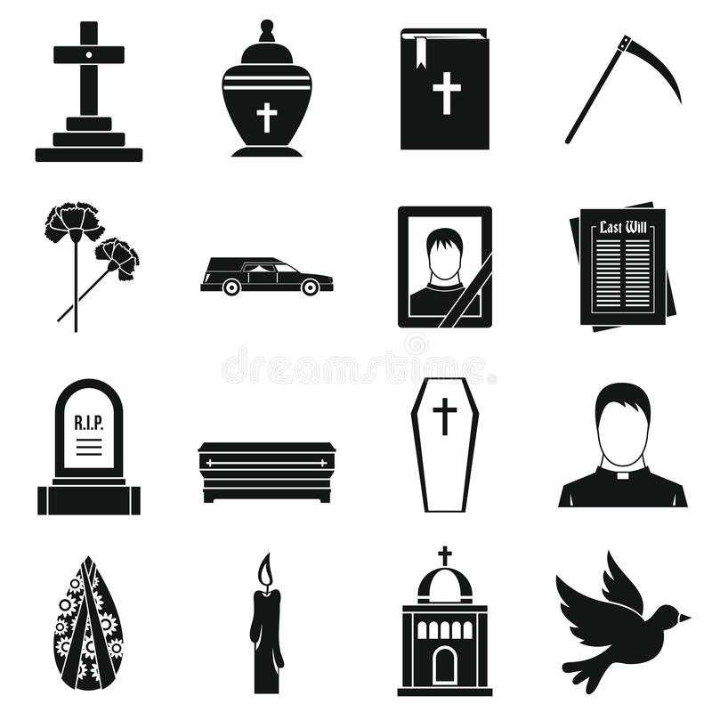 Funeral icons set, simple style. Funeral icons set. Simple illustration of 16 funeral icons for web stock illustration