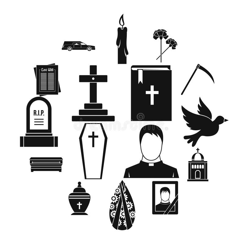 Funeral icons set, simple style. Funeral icons set. Simple illustration of 16 funeral vector icons for web vector illustration