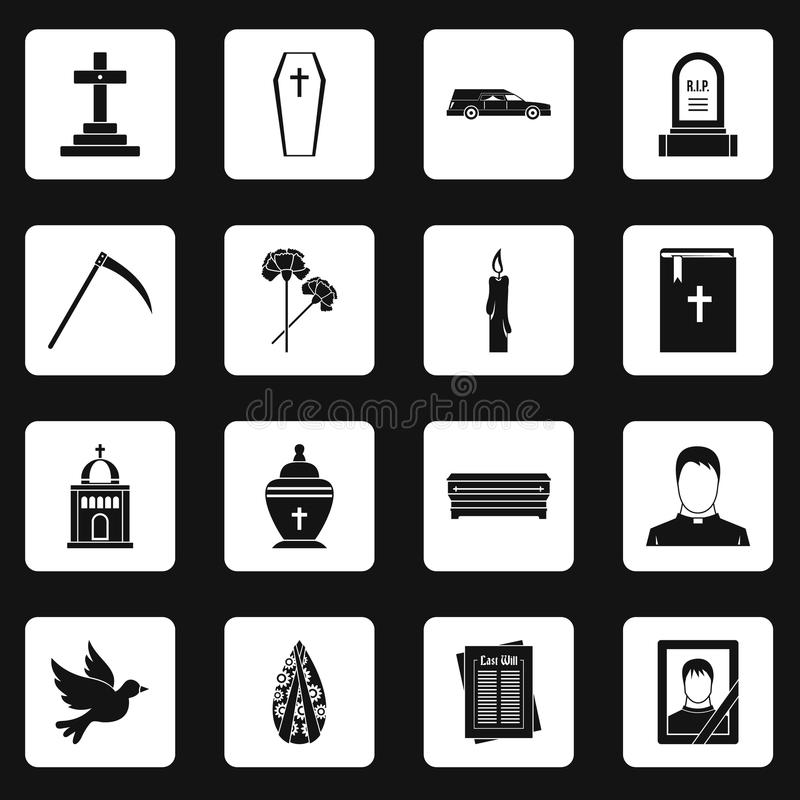 Funeral icons set squares vector. Funeral icons set in white squares on black background simple style vector illustration vector illustration