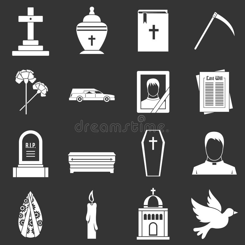 Funeral icons set grey vector. Funeral icons set vector white isolated on grey background vector illustration