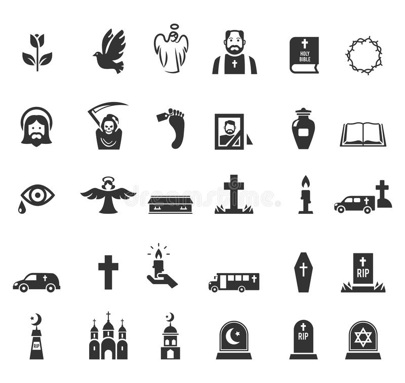 Funeral icons. Vector black funeral icons set on white background stock illustration