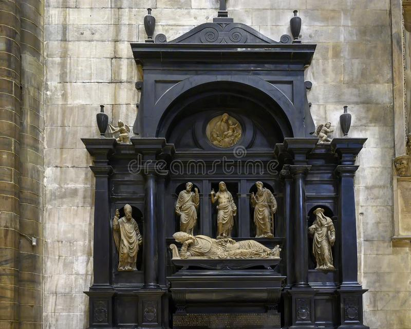 Funeral monument of Cardinal Marino Caracciolo by Agostino Busti in the Milan Cathedral, Milan, Italy. Pictured is the funeral monument of Cardinal Marino stock image