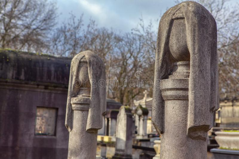 Funeral monuments. Close up image of stone funeral monuments stock image