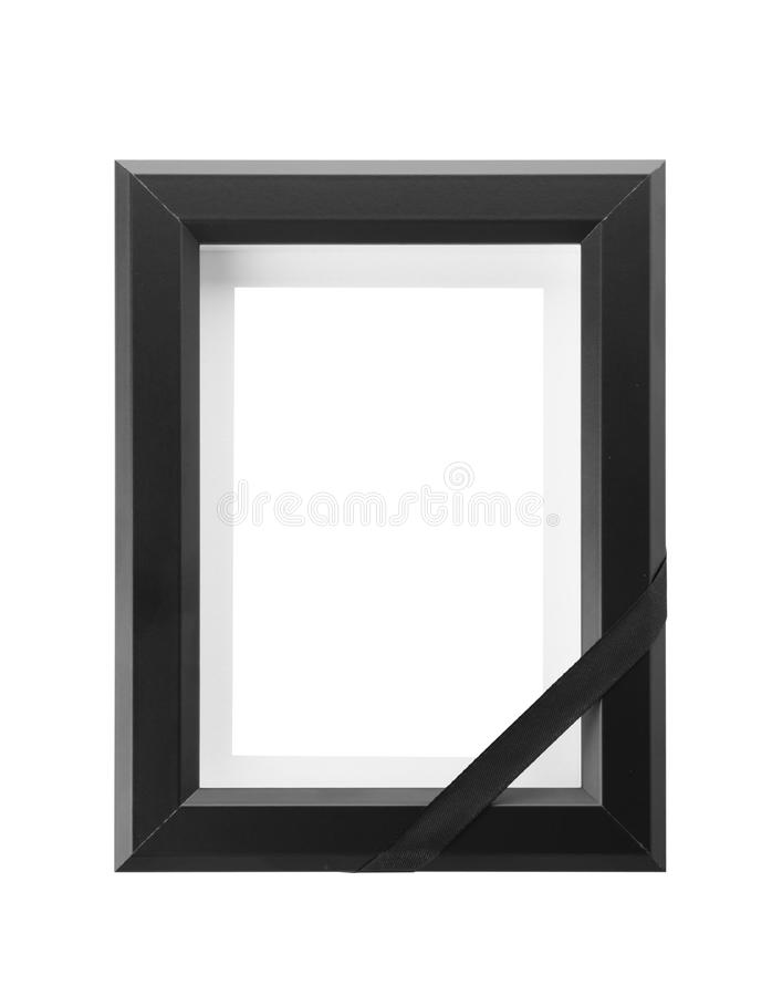 Funeral photo frame with black ribbon stock images