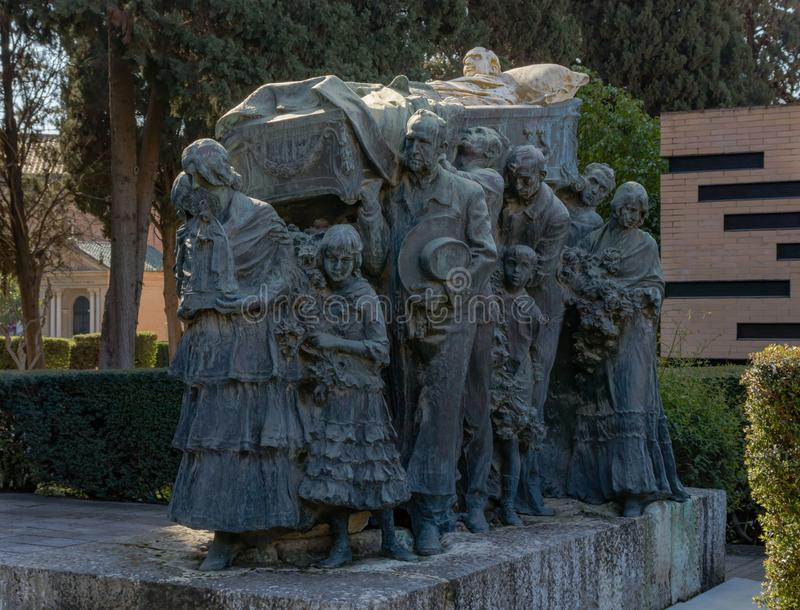Funeral procession Joselito el Gallo in the cemetery of Seville stock image