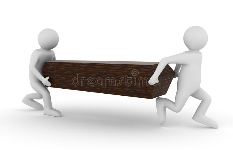 Funeral procession on the white. 3D image stock illustration