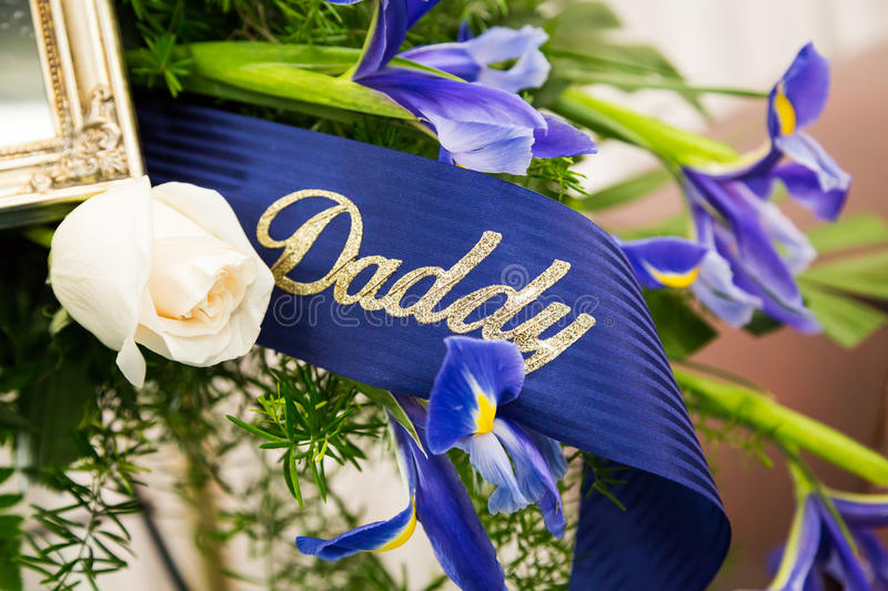 Funeral Ribbon Daddy. Funeral Ribbon with words Daddy royalty free stock image