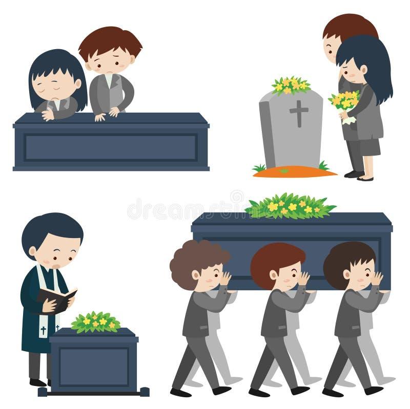 Funeral scene with many sad people. Illustration vector illustration