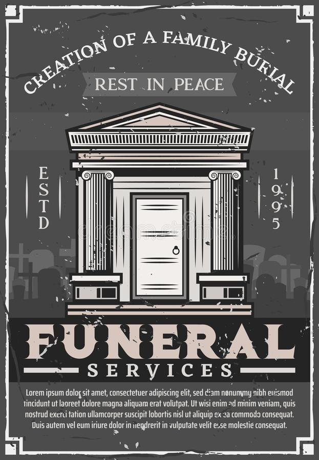Funeral service company, family burial crypt tomb. Funeral service agency, family burial vintage poster. Vector grunge Rest in Peace RIP text, crypt tomb and royalty free illustration