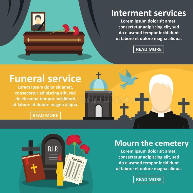 Funeral service banner horizontal set, flat style. Funeral service banner horizontal concept set. Flat illustration of 3 funeral service vector banner horizontal vector illustration