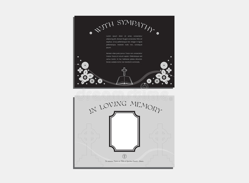 Funeral service cards with envelope. Vector of funeral service cards with envelope stock illustration
