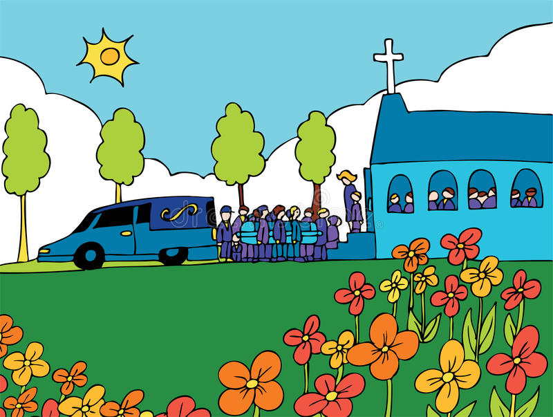 Funeral Service Event. Cartoon of people carrying a casket out of a hearse and into a crowded church stock illustration